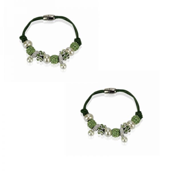 LSB0059- light-green Crystal Bracelet With Pearl Charm
