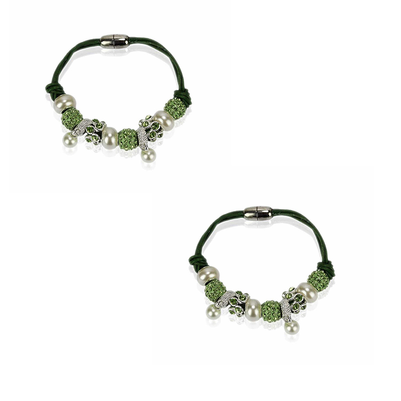 light-green Crystal Bracelet With Pearl Charm