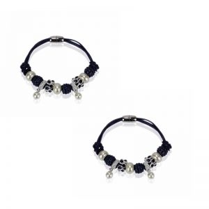 navy Crystal Bracelet With Pearl Charm
