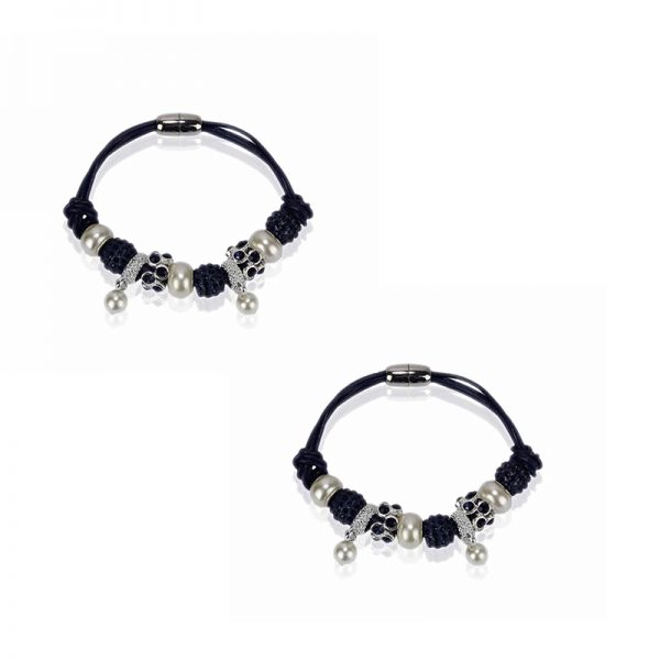 LSB0059- navy Crystal Bracelet With Pearl Charm