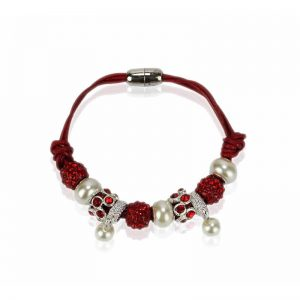 red Crystal Bracelet With Pearl Charm
