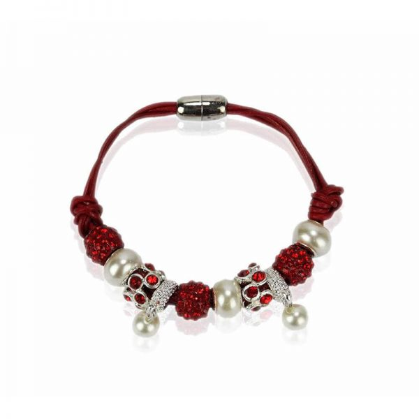 LSB0059- red Crystal Bracelet With Pearl Charm