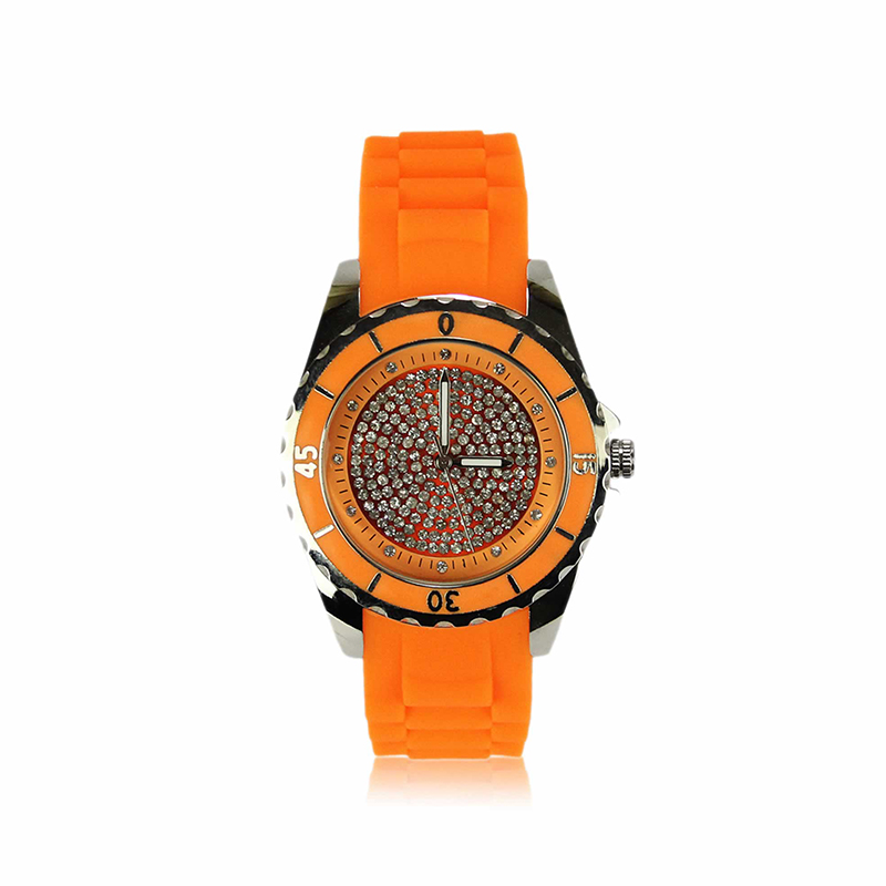 Orange Crystal Watch For Her