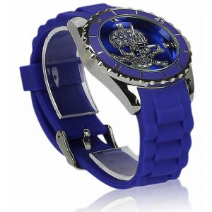 Unisex Blue Skull Watch