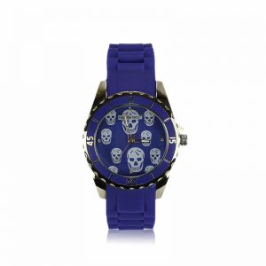 Blue Unisex Skull Watch