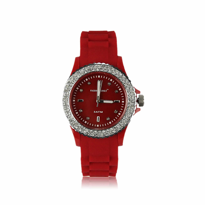 red Fashion Diamante Watch For Women