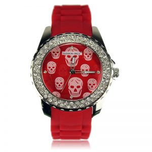 Red Skull Diamante Watch For Women