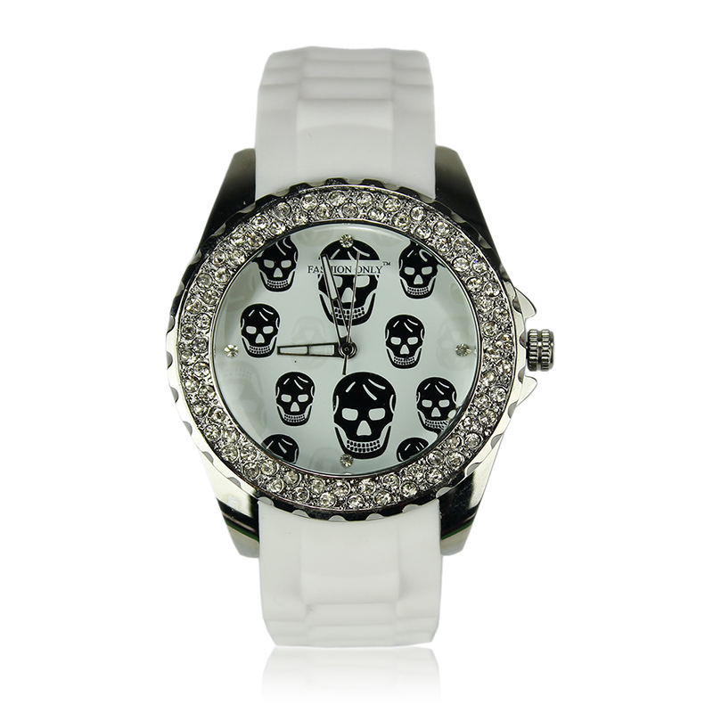 White Skull Diamante Watch For Women