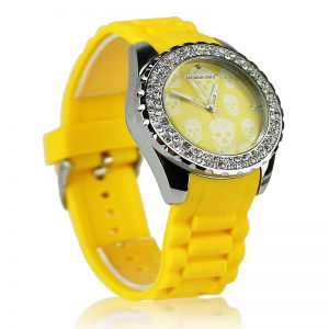 Yellow Skull Diamante Watch For Women