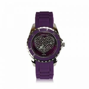 Purple Heart Diamante Watch For Women