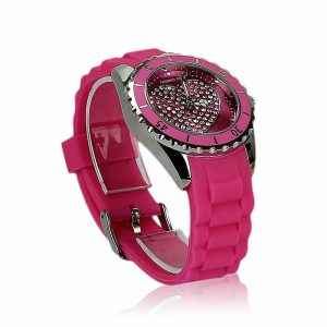 Fuchsia Heart Diamante Watch For Women