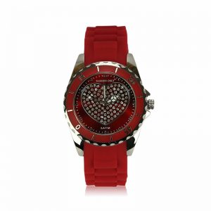 Red Heart Diamante Watch For Women