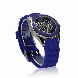 Blue Heart Diamante Watch For Women