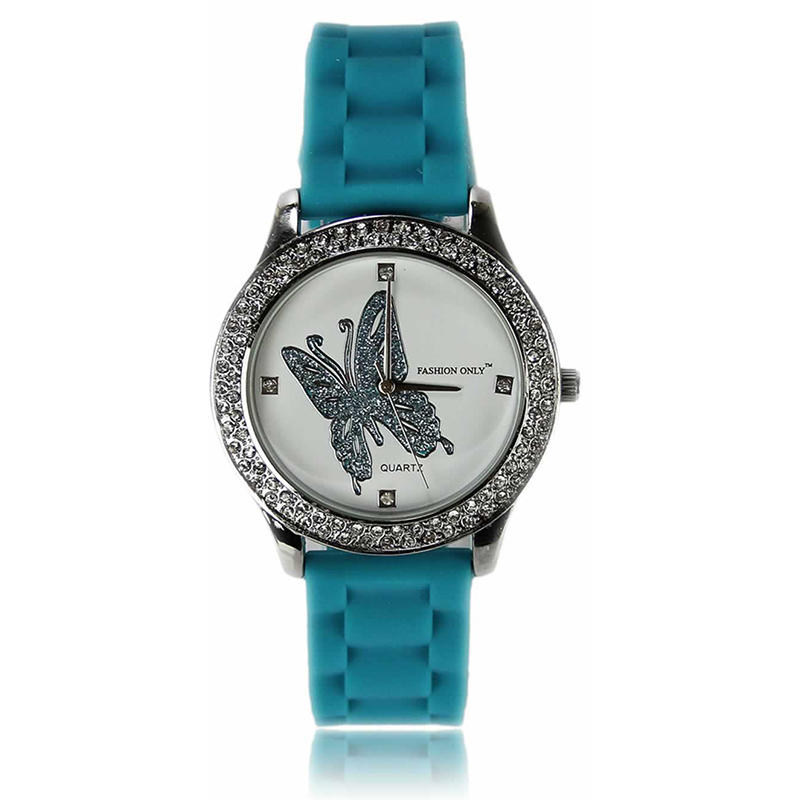 Teal Butterfly Diamante Watch For Her
