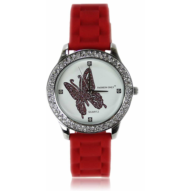 Red Butterfly Diamante Watch For Her
