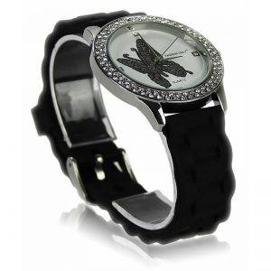 Black Butterfly Diamante Watch For Her