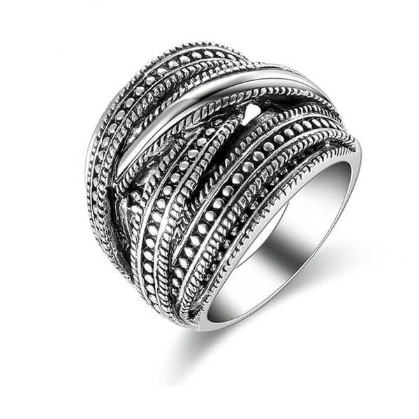 Matelic Black silver ring AR02