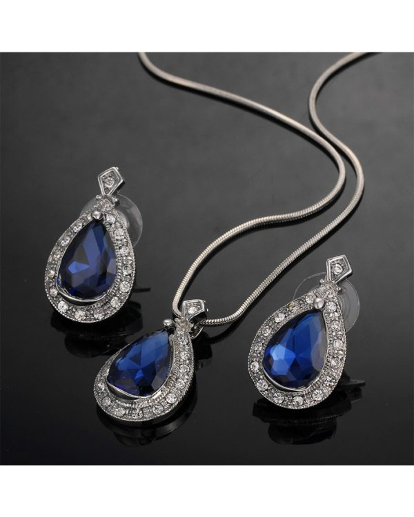 Silver Earring And Necklace Set With Blue Stone1
