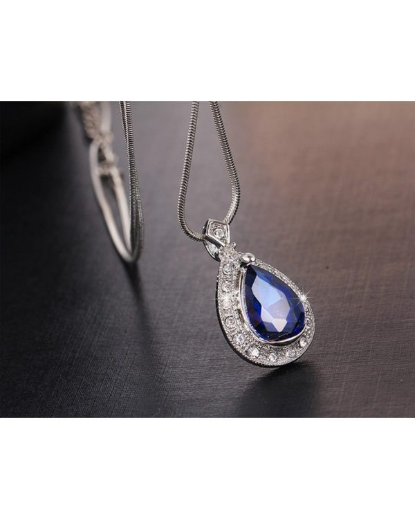 Silver Earring And Necklace Set With Blue Stone3