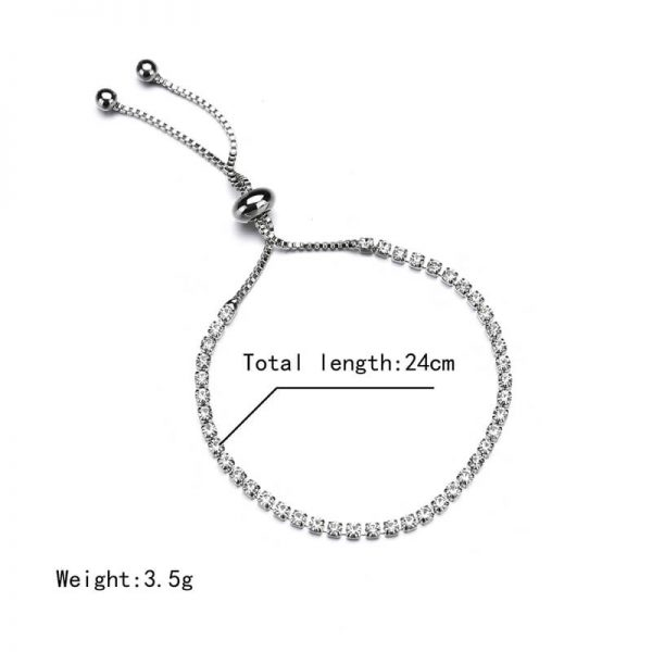 Silver Rhinestone Adjustable Bracelet