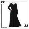 ZA21 Flared Simple Dress Abaya Black PNG