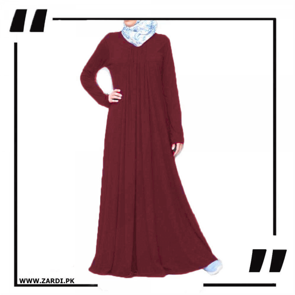 ZA21 Flared Simple Dress Abaya Burgundy-