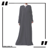 ZA29 Haze V Cut Neck Abaya Grey