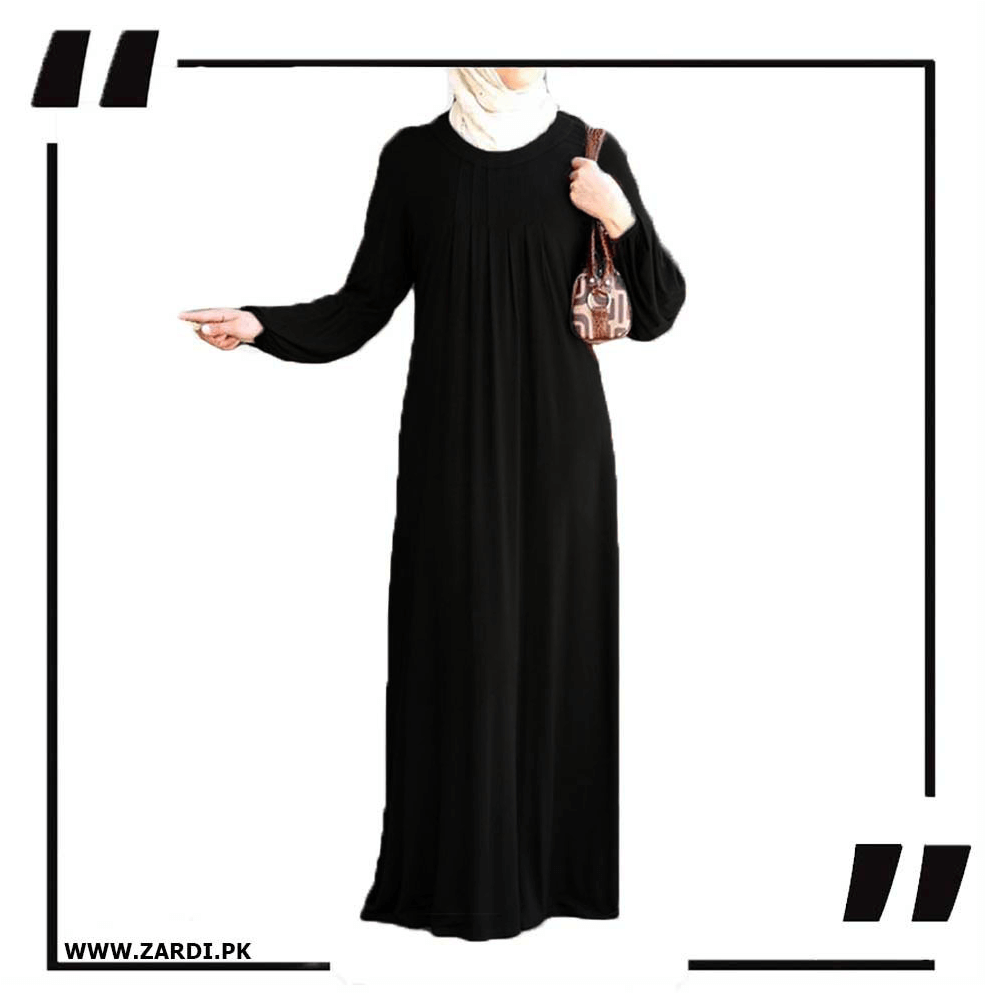 black Maxi Abaya Simple Round Neck