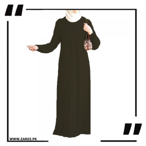 olive Maxi Abaya Simple Round Neck