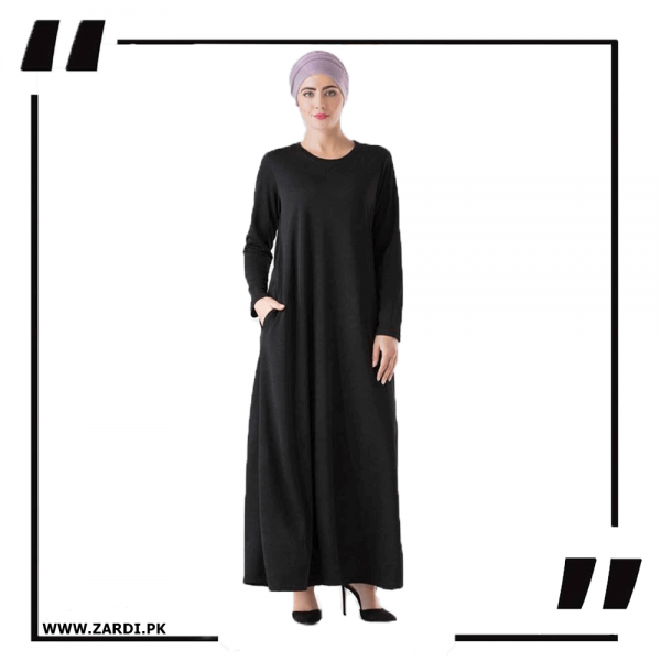 ZA34 Black Round Neck Maxi Dress