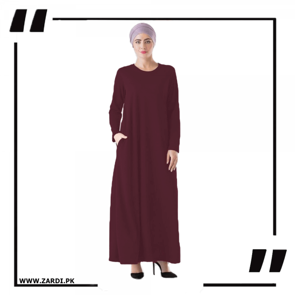 ZA34 Maroon Round Neck Maxi Dress