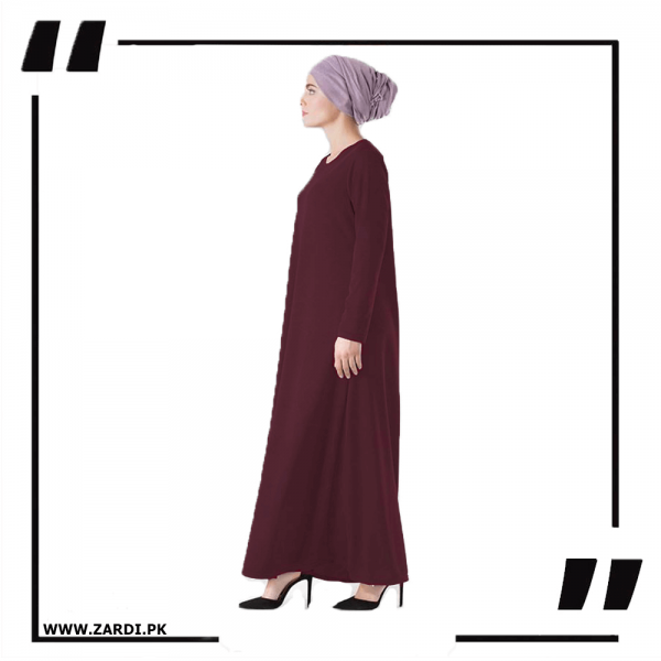ZA34 maroon Round Neck Maxi Dress-