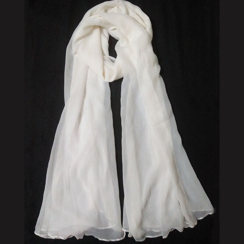 White Chiffon Dupatta Large Soft