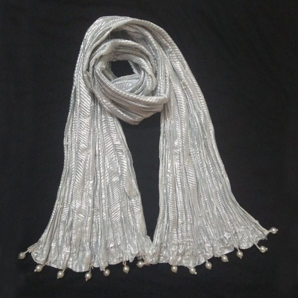 ZD03 Silver Crush Dupatta With Pearls