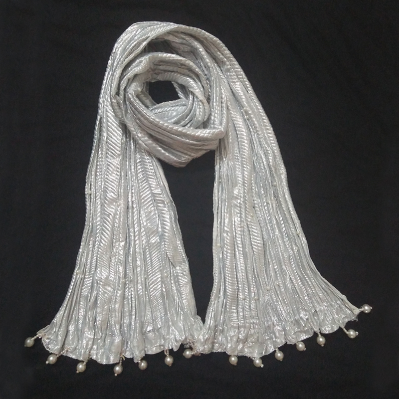 Silver Crush Dupatta With Pearls