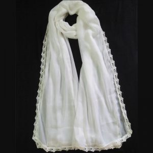 White Chiffon Dupatta Large With Lace On All 4 Sides1