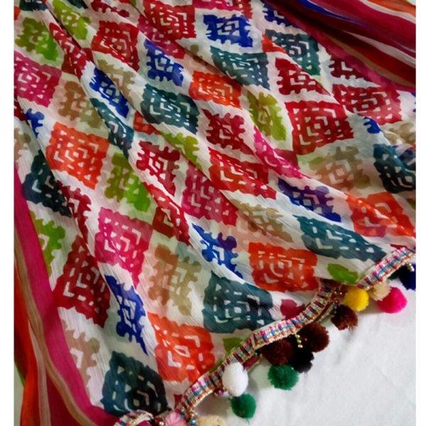 ZD05 Multi Color Chiffon Dupatta Large With Ball Lace