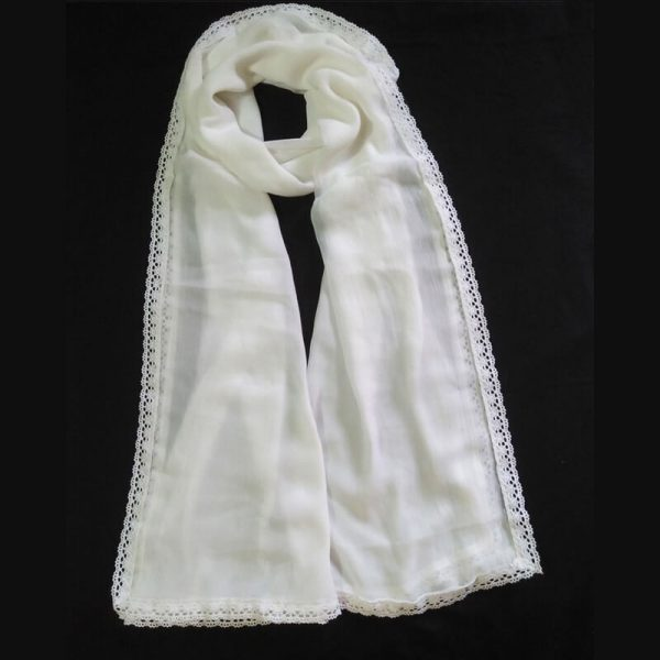 ZD08 White Chiffon Dupatta Large With Lace On All 4 Sides