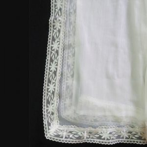 White Chiffon Dupatta Large With Lace On All 4 Sides