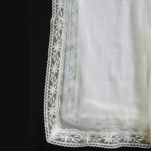 ZD10 White Chiffon Dupatta Large With Lace On All 4 Sides1