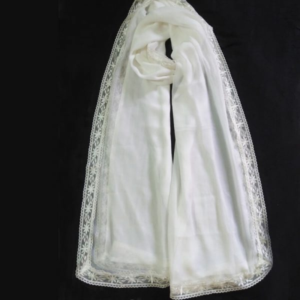 ZD10White Chiffon Dupatta Large With Lace On All 4 Sides