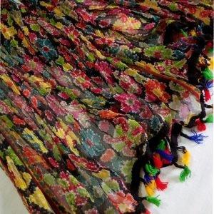 Multi Color Net Dupatta Large With Tassel Lace