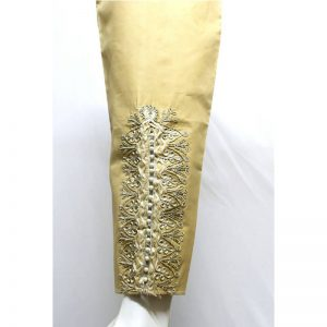 Beige Trouser With Fancy Lace And Pearls