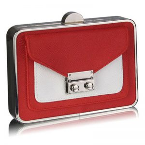 red/white hardcase clutch bag with long shain