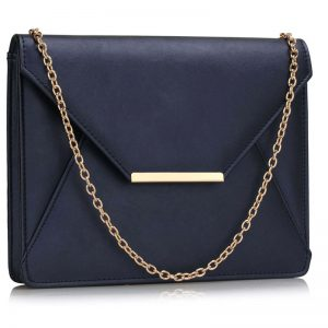 navy flap clutch purse