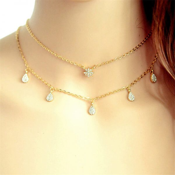 2 Layer Gold Chain Necklace With Diamantes AN71-