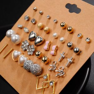 20 Pair Stud Earrings Set For Women