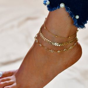 3 Pieces Gold Fashion Crystal Anklet Set