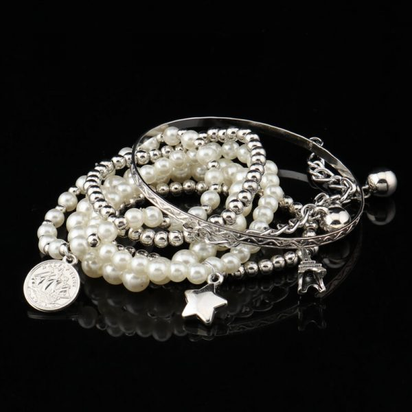 AB08 5 Piece Bracelet Set With Pearl Silver Beads 1