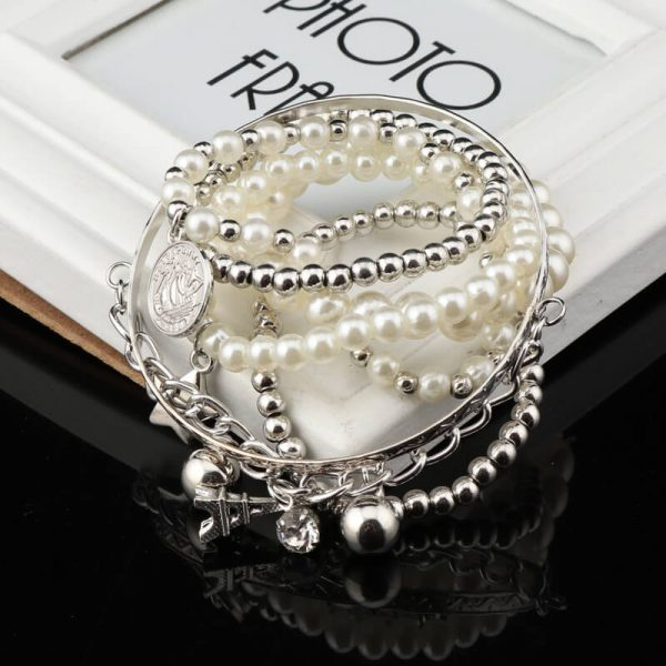 AB08 5 Piece Bracelet Set With Pearl Silver Beads 2
